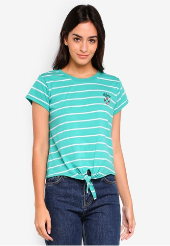 Cotton On white and green TBar Tie Front Tee 7B0DEAA633A8CCGS_1