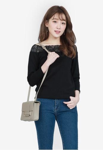 YOCO black Lace Shoulder Top 69B28AA89AA7D0GS_1