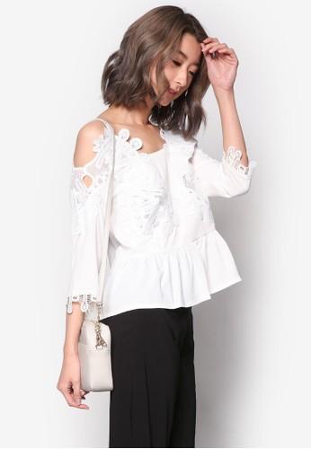 蕾絲鉤花挖肩esprit outlet 桃園七分袖上衣, 服飾, 上衣