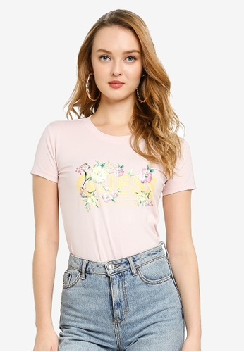 Guess pink Short Sleeve Crew Neck Janel Tee A702AAACD3606AGS_1