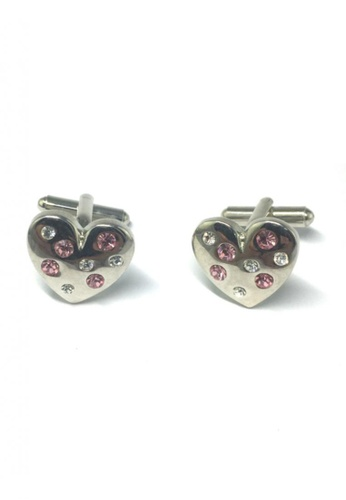 Splice Cufflinks silver Silver Heart with Crystals Cufflinks SP744AC31FSMSG_1