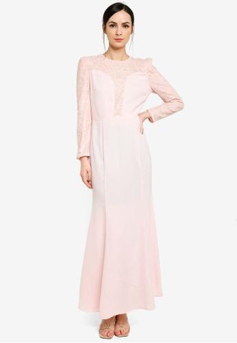 Zalia pink Lace Panel Mermaid Dress A0073AA7A08A0FGS_1