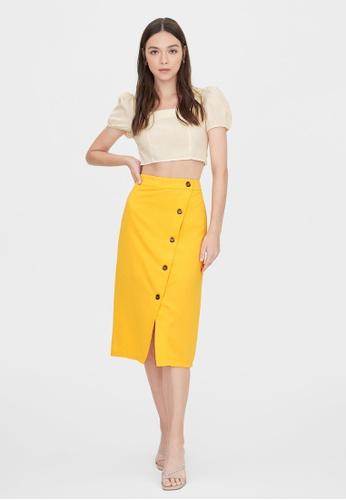 Pomelo yellow Wrap Tortoise Button Up Skirt - Yellow 890C9AA204BA2BGS_1