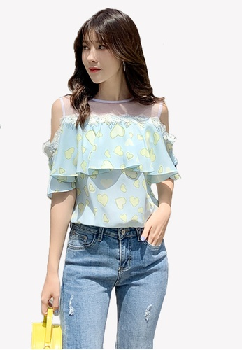 Halo blue Sweet Heart Cold Shoulder Tops 4396CAADE1E3C5GS_1