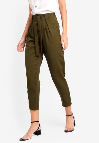 ZALORA green Straight Cut Formal Trousers With Pleats 59FE5AAD0128FFGS_1