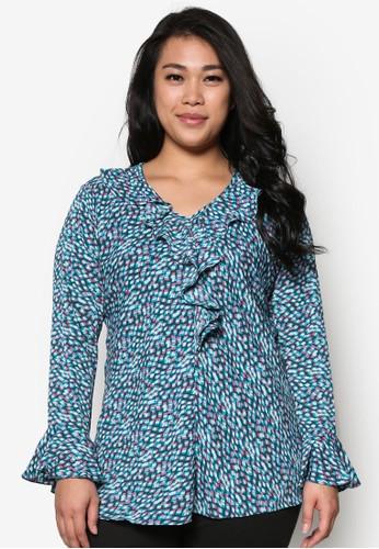 荷zalora taiwan 時尚購物網鞋子葉飾V 領印花長袖上衣, 服飾, 上衣