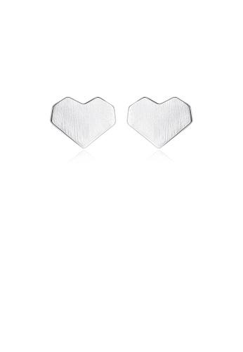 Glamorousky silver 925 Sterling Silver Simple Romantic Heart-shaped Stud Earrings 680DDAC95C1DE4GS_1