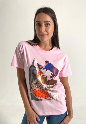 VAMAANI pink and multi Nostalgic for NYC Tshirt 3A5E4AA70984B1GS_1