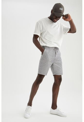 DeFacto grey Slim Fit Cotton Chino Bermuda Shorts BD912AAB32F4D0GS_1