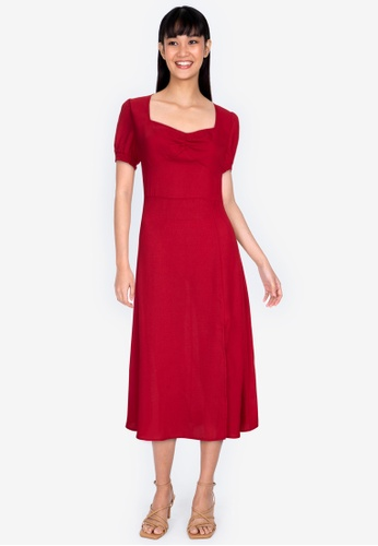 ZALORA BASICS red Smocked Sleeves Ruched Front Midi Dress 63A62AA629A604GS_1