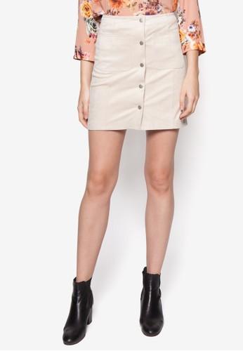 排鈕口袋mango 手錶官網短裙, 服飾, 裙子