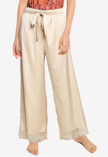 ZALORA BASICS beige Lounge Lace Hem Wide Leg Pants 0EC50AAA6FEE70GS_1