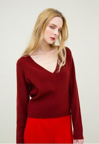 KLAPS red V-neck Cashmere-blend Sweater D93E0AAE069D1FGS_1