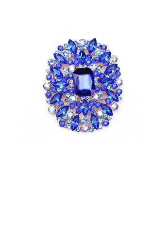 Glamorousky blue Elegant and Bright Plated Gold Geometric Pattern Brooch with Blue Cubic Zirconia 91CC2AC1C8E6C1GS_1