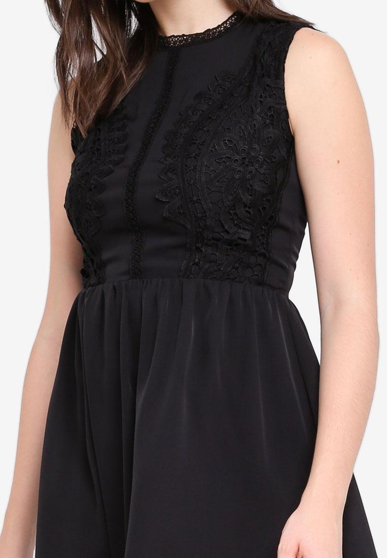 Fit Front amp; Dress Black Lace Flare ZALORA 51UOxnOqw