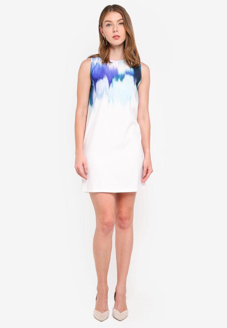 ZALORA Dress White Based Print Abstract Shift Green Print tq8waqO6