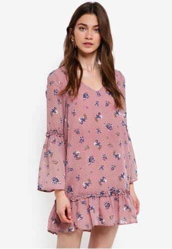 Something Borrowed pink Fluted Hem Dress With Ruffle Detail 5B057AADA7F659GS_1