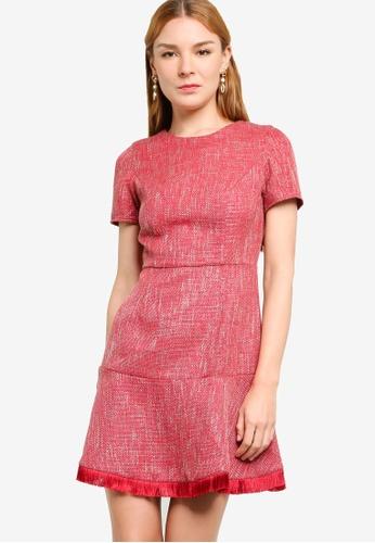 ZALORA WORK red Fit & Flare Tweed Dress 8E954AA4F42234GS_1