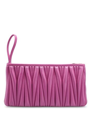La Fille Des Fleurs pink Nina Plissè¨ Zip Wristlet 984D6ACE71E07EGS_1