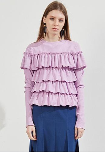 Workwear multi Pink Ruffle Top WO056AA20FKDSG_1