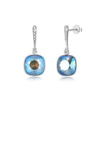 Glamorousky blue 925 Sterling Silver Elegant Fashion Simple Sparkling Blue Austrian element Crystal Earrings 371BEAC991DB12GS_1