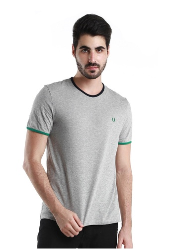 Fred Perry Green Label grey Light Grey Round Neck Tee Shirt FR595AA28XADMY_1