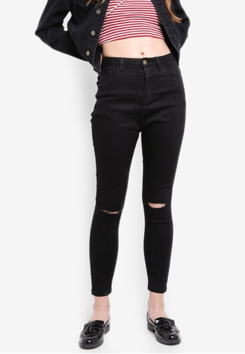 Something Borrowed black Knee Rips Skinny Jeans 25FD9AA0BCE9A4GS_1