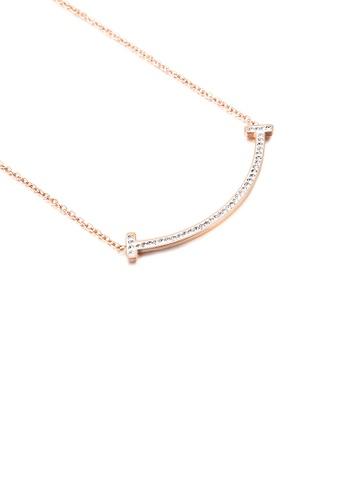 Glamorousky 白色 簡約創意鍍玫瑰金笑臉表情鋯石316L鋼項鏈 30E8DACB4EAB3DGS_1