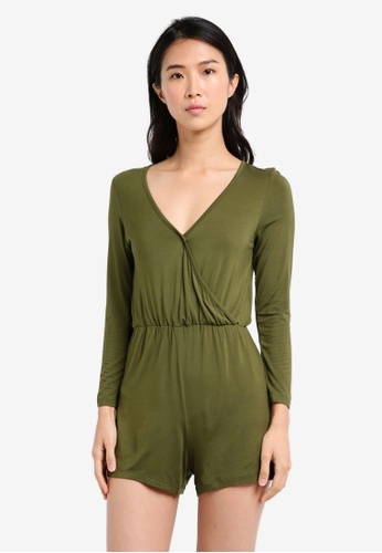 ZALORA green Wrap Front Playsuit 08D64AAC3FAACAGS_1