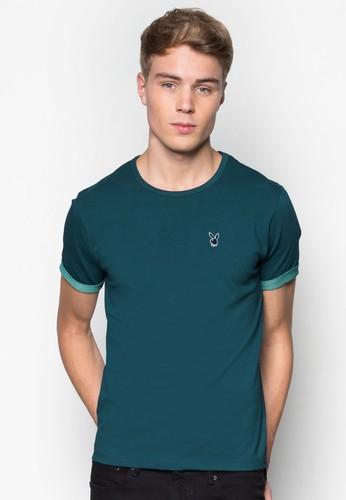 撞色反折混色短袖上衣, 服飾, Tsalon esprit恤