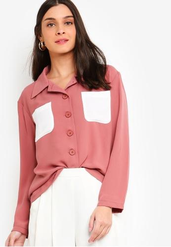 ZALORA pink Button Details Shirt C4E00AA41D7BE5GS_1