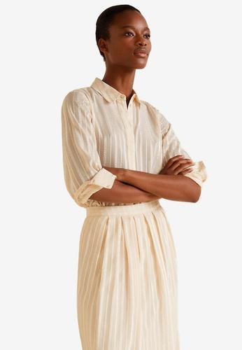 Mango pink Satin Striped Shirt 47914AA2FFFC75GS_1