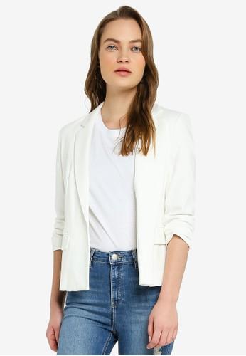 Miss Selfridge white Petite Ivory Ruched Sleeve Blazer 8AB06AAE7F7840GS_1