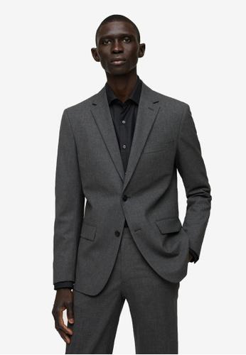 MANGO Man 灰色 修身Fit 羊毛 Suit 西裝外套 8455FAAD707ECBGS_1