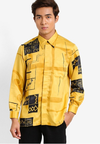 Gene Martino yellow Long Sleeve Batik Shirt GE222AA92HDBMY_1