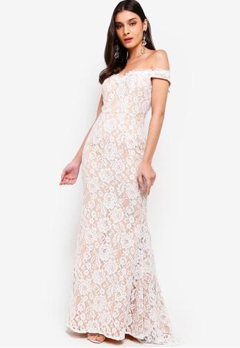 JARLO LONDON white and beige Vanessa Dress BBFE0AAA26902BGS_1