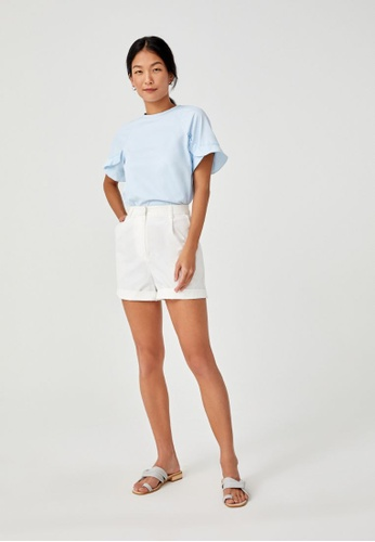 Love, Bonito blue Valda Flutter Sleeve Blouse 7AED9AAACABDCBGS_1