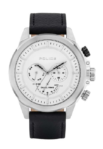 Police white and silver Jam Tangan Pria Leather Strap Police PL.15970JS01 Original AF810ACFB34959GS_1