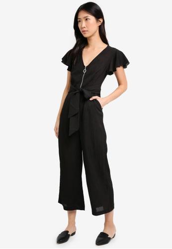 ZALORA black Front Zipper Detail Jumpsuit 1E41AAA570508EGS_1