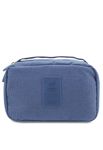Bagstationz blue Lightweight Water Resistant Travel Toiletries Pouch BA607AC31QNSMY_1