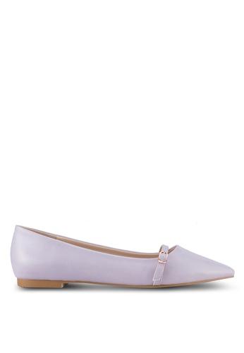 Velvet purple Buckle Ballet Flat Shoes FBB39SH29B60F1GS_1