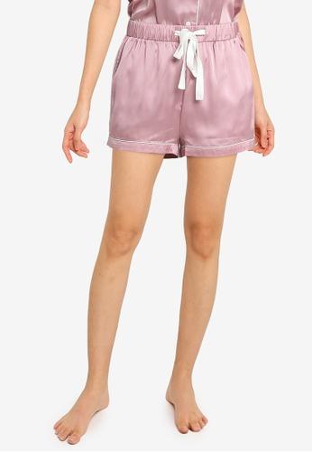 ZALORA BASICS pink Lounge Satin Pyjama Shorts 4373CAAFF5E532GS_1