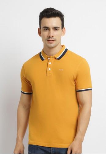 Osella yellow Osella Baju Pria Polo Shirt Lengan Pendek Kuning Polos Kerah Stripe 2028BAA68EA63AGS_1