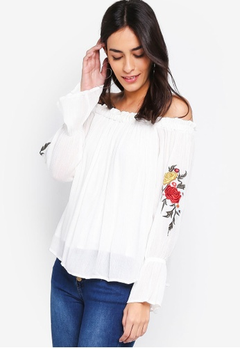 ZALORA white Off-shoulder Embroidery Top 7F3D5AA41BD729GS_1