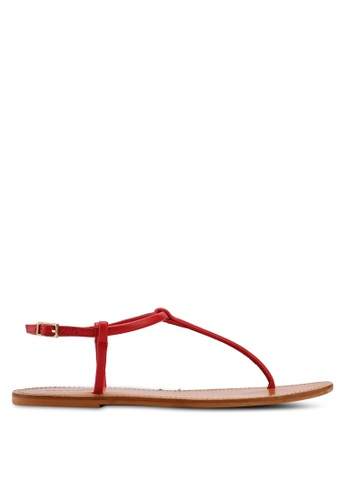 Mango red Leather Straps Sandals FE786SH7E05EC6GS_1