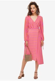d1a70f00956 TOPSHOP pink Petite Stripe Wrap Midi Dress 46107AA564A807GS 1