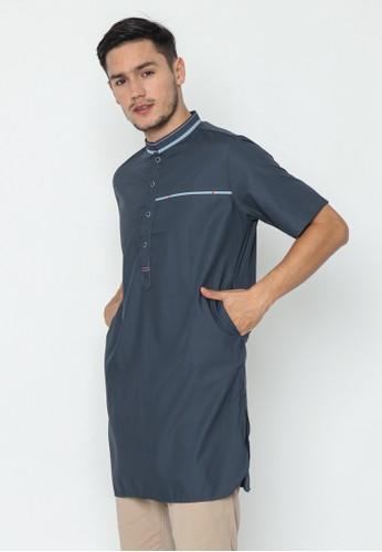AL-LUTHFI blue Kurta Lengan Pendek Khalid - Navy 3117EAABAB26B5GS_1