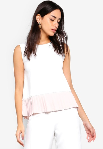 ZALORA white Pleated Hem Top 0B878AA8633FDDGS_1