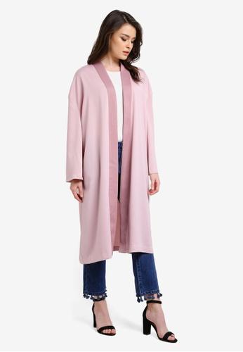 Zalia pink Satin Kimono Midi Cardigan 624A8AAFF84CDEGS_1