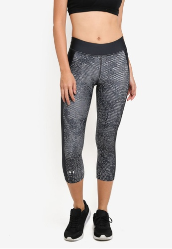 Under Armour black and green and multi UA HG Print Armour Capri Pants UN337AA0SU77MY_1